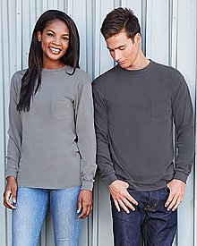 Next Level Unisex Inspired Dye Long-Sleeve Crew with Pocket
