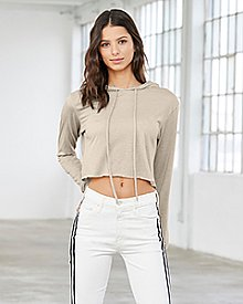 Bella + Canvas Ladies' Cropped Long Sleeve Hoodie T-Shirt