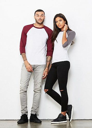 Bella + Canvas Unisex 3 4 Sleeve Raglan Baseball T Shirt