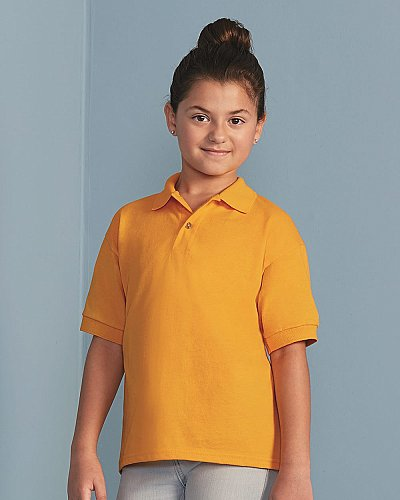 Gildan DryBlend Youth 5.6 oz. G880B 50//50 Jersey Polo GOLD