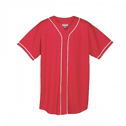 Augusta Sportswear Wicking Mesh Button Front Jersey With Braid Trim